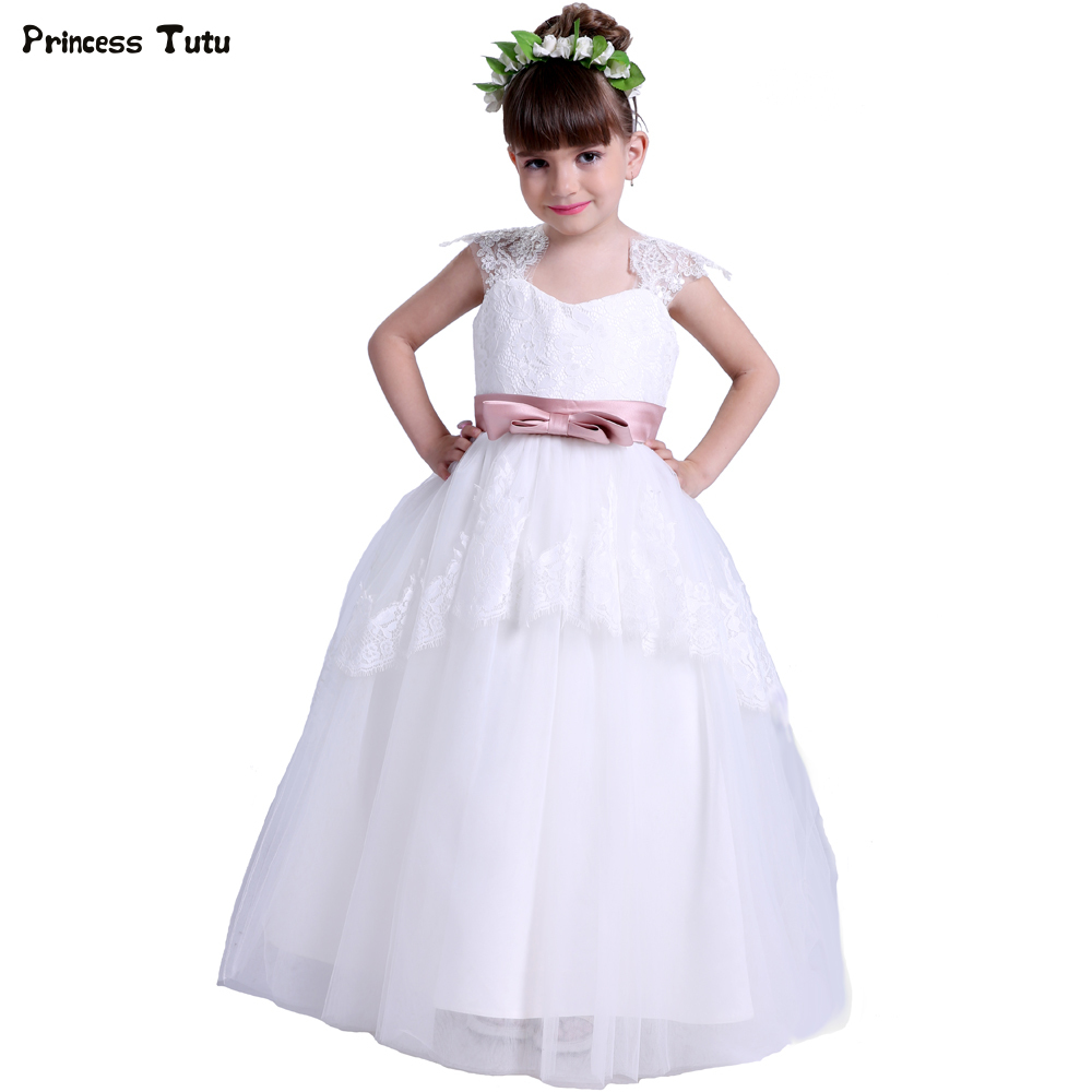 Custom Lace Tulle Flower Girl Dresses Ball Gown White Sleeveless Wedding Party Pageant First Communion Dresses for Girls Vestido 2018 princess white flower girl dresses for wedding ball gown sweep train girls pageant dresses lace tulle for wedding party