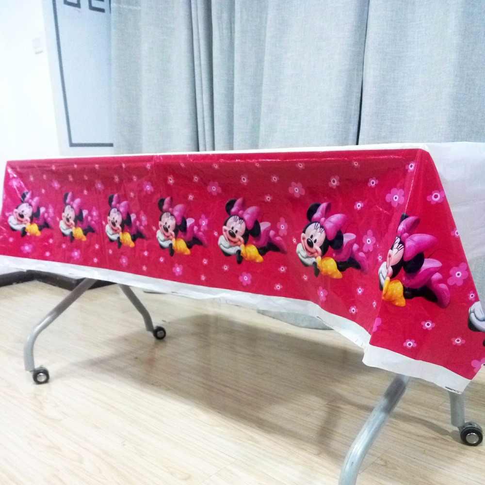 108 Cm * 180 Cm Minnie Mouse Baby Shower Taplak Meja Tema Kartun Dekorasi Pesta Ulang Tahun Perlengkapan Acara Disposable Taplak Meja Set