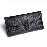 Genuine Leather Clutch Wallets Women Serpentine Pattern Cell Phone Bag Removable Design Zip Coin Purse Card Holder Travel Wallet