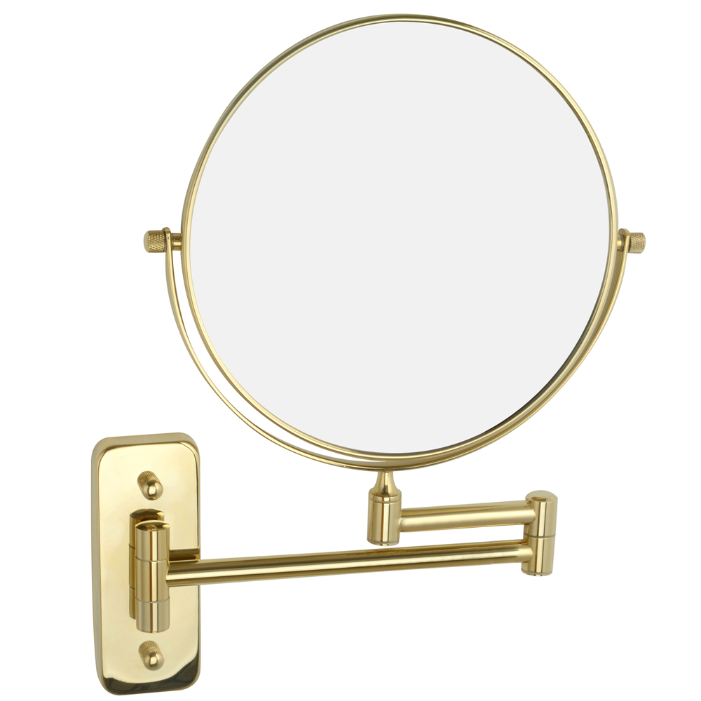 Gurun Makeup Mirror- Gold Round Brass 8 Inch 10X magnifier Cosmetic Mirror Two-sided Wall Mounted Mirror compact blank M1407J brass wall mounted ribbon lamp 8 5 round double side cosmetic mirror silver 220v page 8