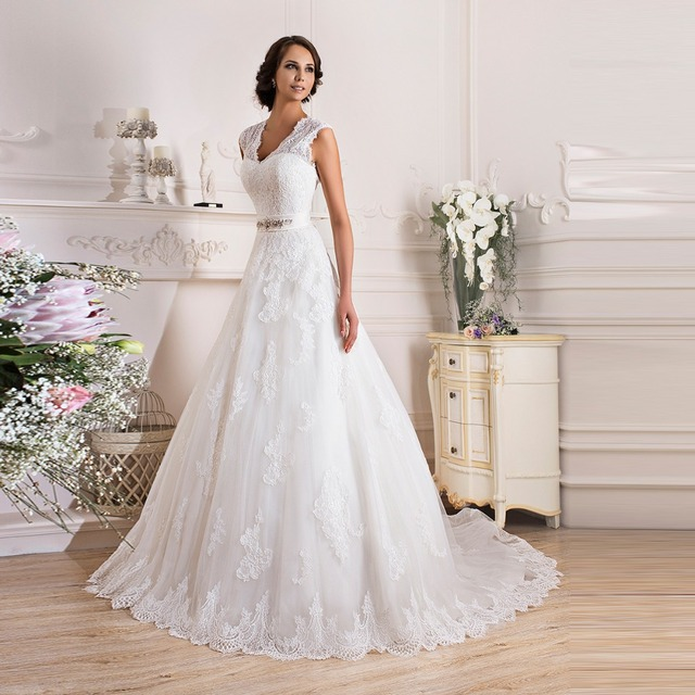 Vintage Cap Sleeves American Style Wedding Dresses 2016 Lace Long ...