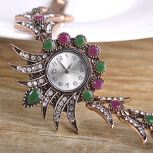 Turkish Flower Bracelet Watch Wrist Jewelry Crystal Acrylic Vintage Antique Gold-color Clock Pulseiras Pulseras Mujer Bijoux