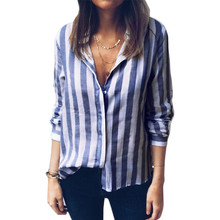 New 2019 Korean Style Long Sleeve Striped Blouse Shirt Ladies Button Feminine Shirt chemise femme Plus Size Tops Spring Clothing plus size striped button up shirt