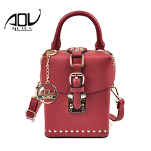 AOU New Women Rivet bags Fashion Box designer Shoulder bag 2017 Ladies Red luxury handbags high quality PU leather Messenger bag