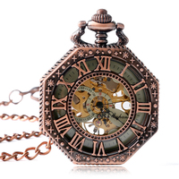 Pocket Watch Retro Fashion Pendant Fob Mechanical Trendy Hollow Hand Winding Luxury Octagon Shape Chain Women