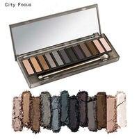 La ciudad de Enfoque marca nk ahumado paleta de sombra de ojos paleta de maquillaje con pinceles de maquillaje maquiagem pigmento