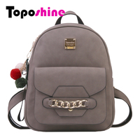 Toposhine Chains Exquisite Pendant Hairball Women S Backpack Diamond Famous Brand Backpack Solid Retro Girls School