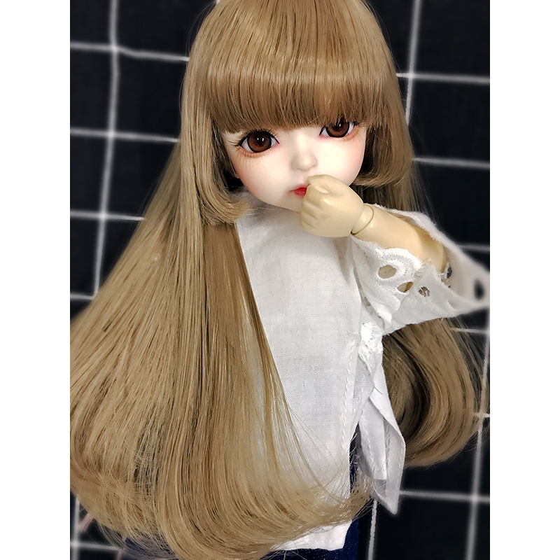 Allaosify 1/3 1/4 1/6 BJD Doll High-Temperature Wig girl and boy long straight bule Wigs SD BJD Wig with bang short straight oblique bang synthetic capless wig