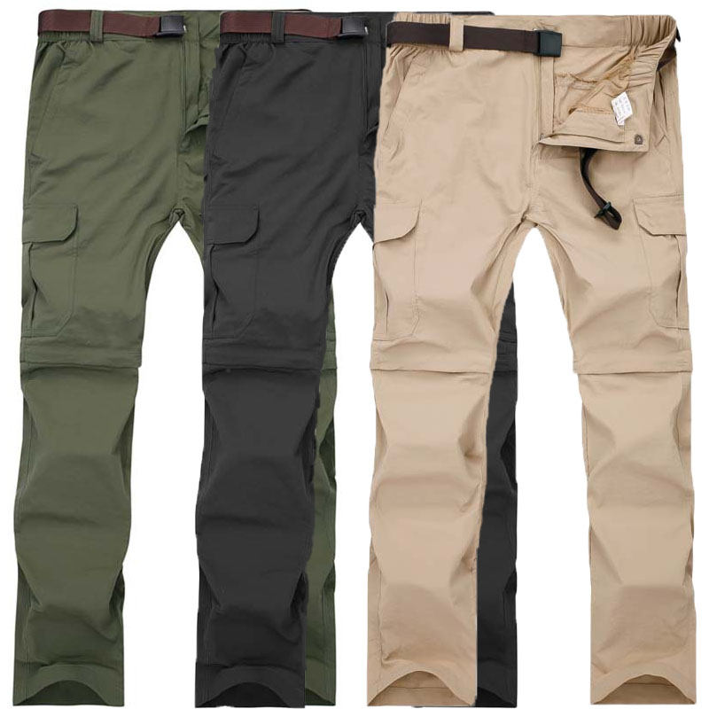 High Quality Men Removable Breathable Summer Quick Dry Pants Plus Size Waterproof Outdoor Sports Hiking Trousers M-7XL