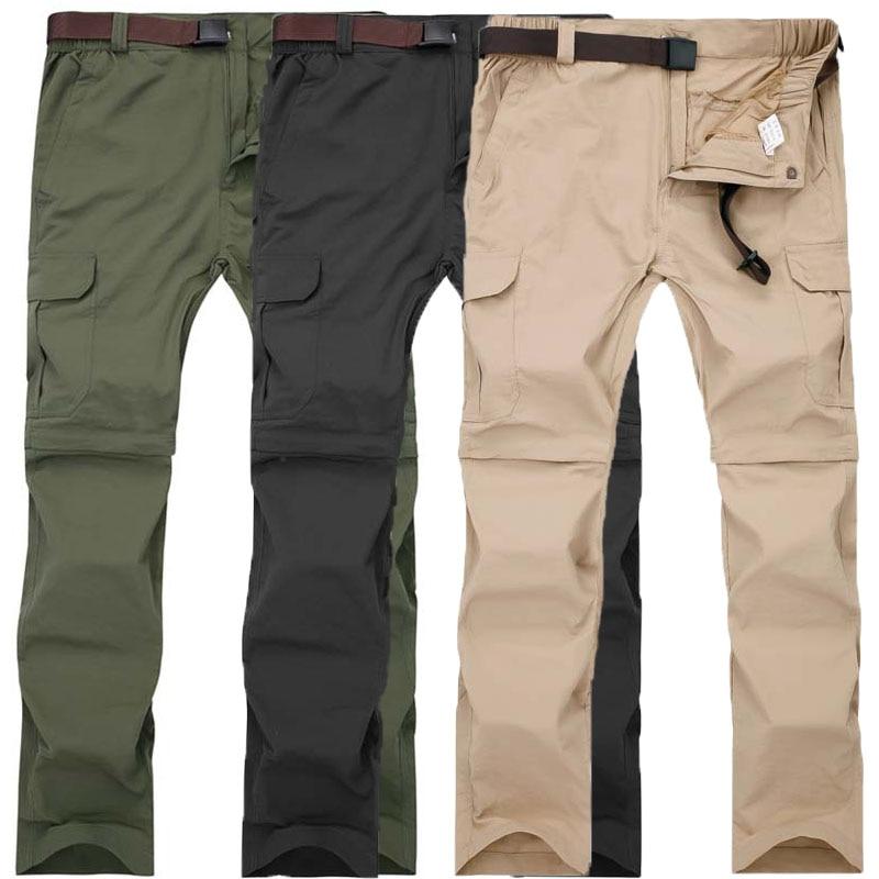 Wysokiej Jakości Mężczyźni Zdejmowane Oddychające Lato Szybkie Suche Spodnie Plus Rozmiar Wodoodporne Spodnie Sportowe Piesze Wycieczki M-7XL