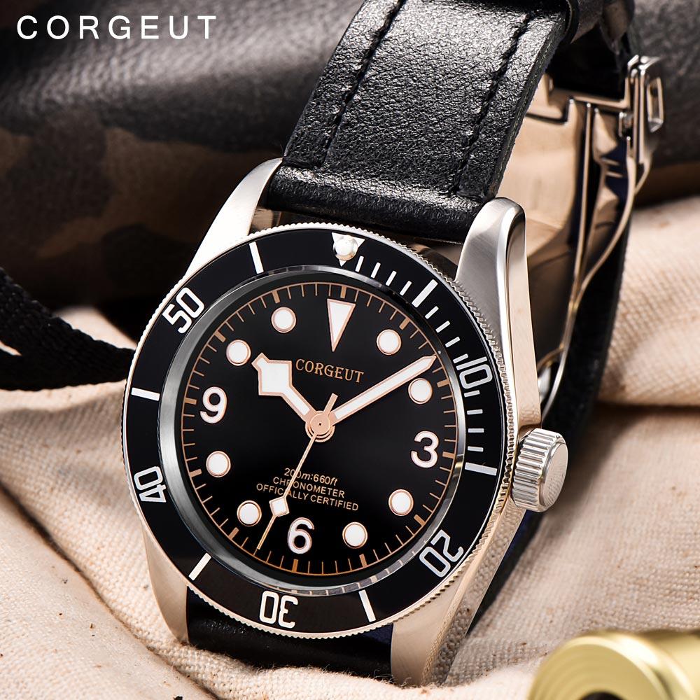 Corgeut Luxury Brand Schwarz Bay Men Automatic Mechanical Watch Military Sport Swim Clock Leather Mechanical Wrist
