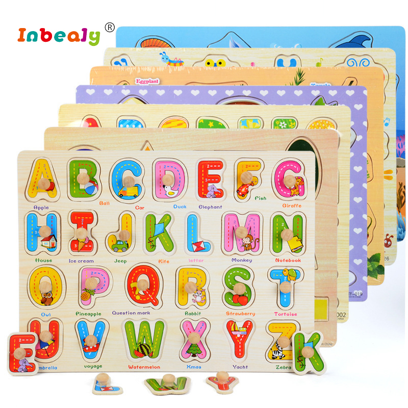 Baby Kid Hand Grasp Wooden Puzzle Early educational Toys Tangram Jigsaw Board Cartoon letter fruit Animal Puzzle Toys Montessori цена