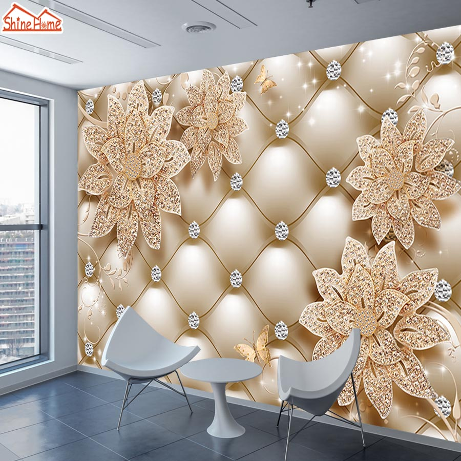 Us 12 32 44 Off Shinehome Floral Soft Roll Diamond Jewelry Wallpaper 3d For Walls Wallpapers 3 D Living Room Hall Wall Paper Mural Roll Home Art In