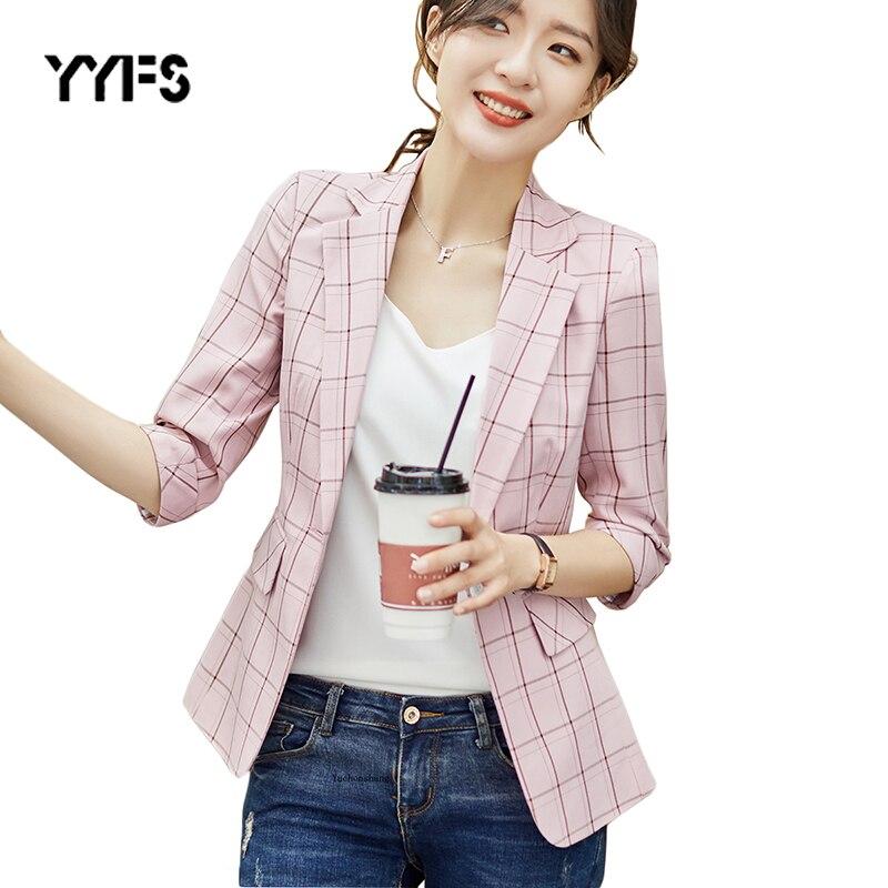 Plaid Blazer Women Single Button Autumn Three Quarter Causal Jackets Female Pink Suits Coat Office High Quality Blazer Mujer 3XL jeans con blazer mujer