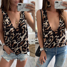 Womens Summer Leopard Print Casual Tank Tops V-Neck Sleeveless Crop Shirt Ladies Camisole Sexy Top