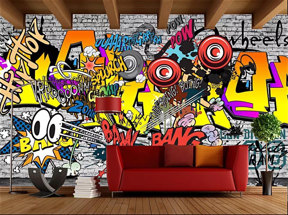 Humor Beibehang Custom Wallpaper Fashion Trend Street Art Graffiti Brick Cafe Bar Restaurant Painting Background Wall 3d Wallpaper Wallpapers Home Improvement