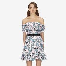 כתף דיוקן שמלת מודפס