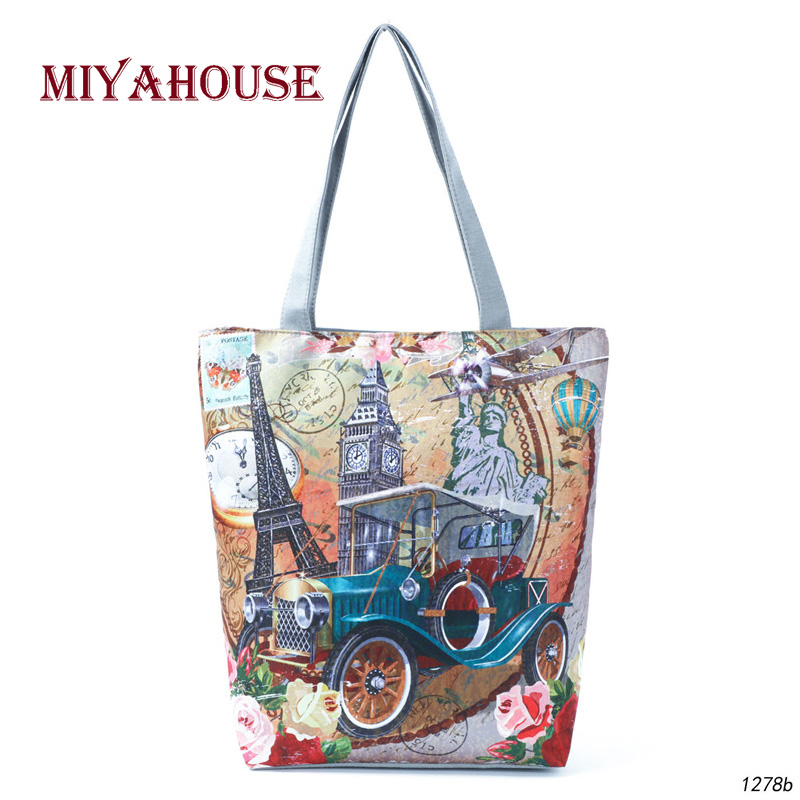 Miyahouse Vintage Design Shoulder Bag Women Statue Of Liberty Printed Tote Handbag Female Canvas Casual Tote Lady Beach Bag
