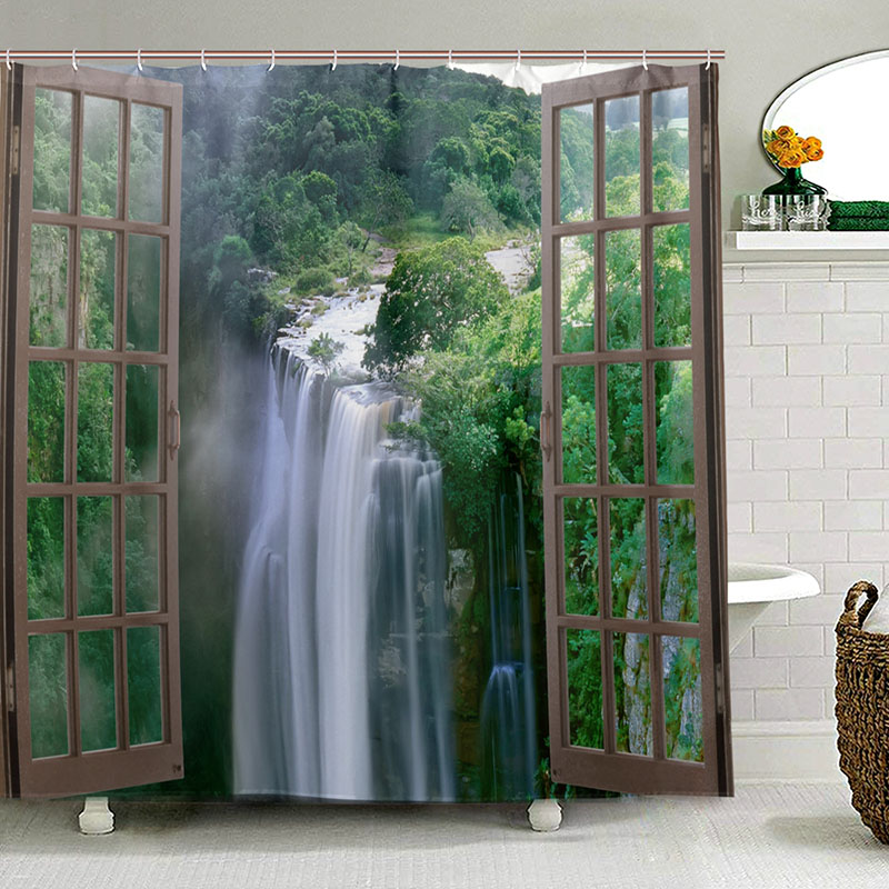 Image 2 - Wide Waterfall Deep Down in The Forest Seen from A City Window Epic Surreal Decorative Shower Curtain Landscape Bathroom Curtain-in Shower Curtains from Home & Garden