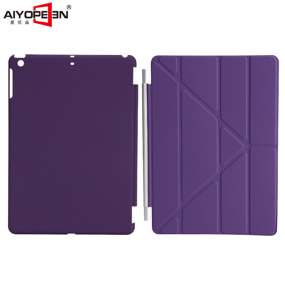 For ipad 9.7 2017 Case solid pc back cover+pu Leather smart wake up sleep magnetic flip stand Origimi brand aiyopeen with gift ctrinews for apple ipad air 1 smart cover case magnetic wake up sleep multi fold pu leather cover for ipad 5 soft tpu back case