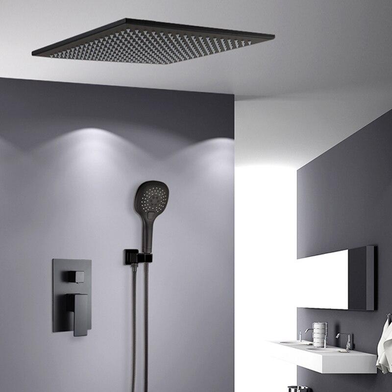 BAKALA Chuveiro Torneiras de parede preta montada chuvas banheiro escondido misturador do chuveiro torneiras banho rain shower set torneira da banheira BR-BB