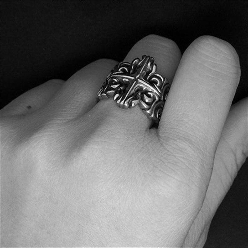 Vintage Goth Ringe Schmuck Frauen männer Filigrane Kreuz Ring ...