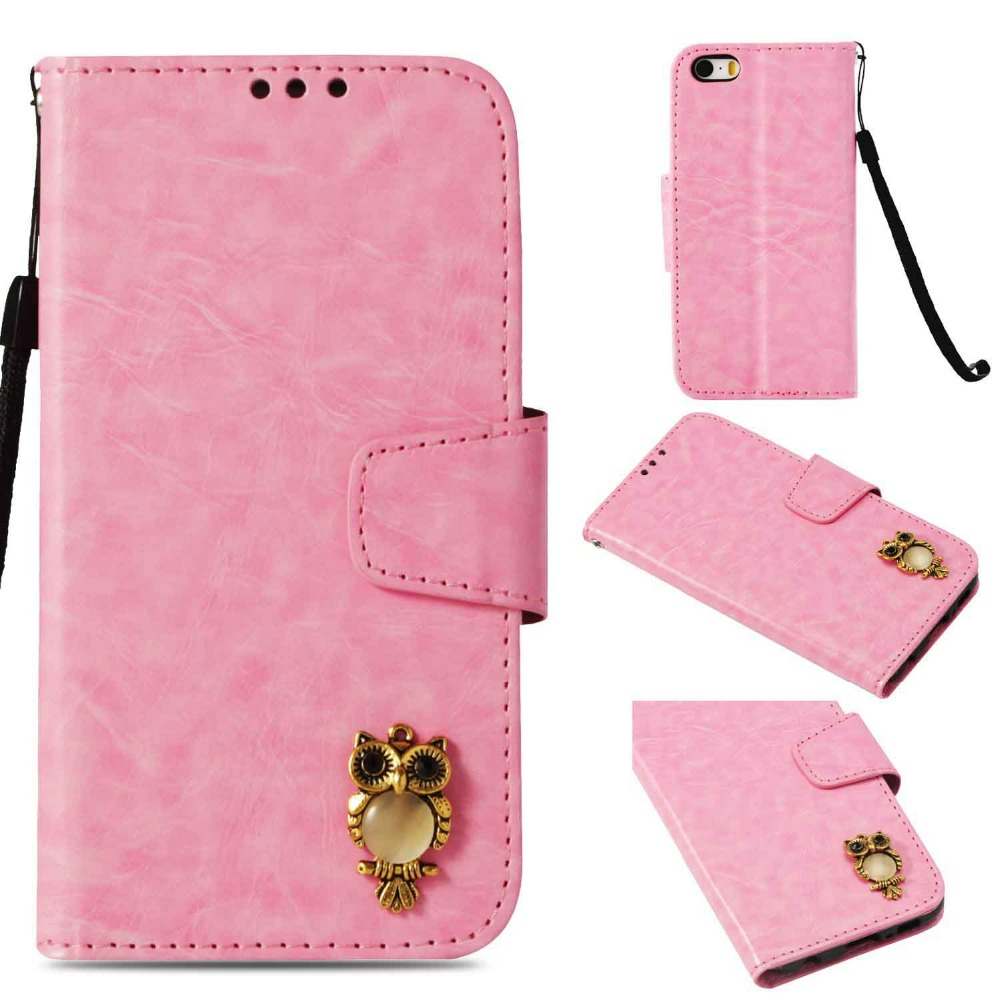 For iPhone SE 5S Case Cover Stylish Owl Flip Folio PU leather Wallet Phone Skin Soft Cases for Apple iPhone 5 5S 6 7 8 6Plus