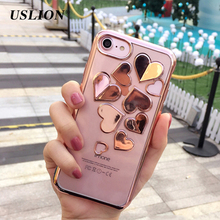 USLION Phone Case for iPhone 7 6 6s plus 3D Plating Love Heart Soft TPU Silicon Case Back Cover Capa Coque for iPhone7 6 6S Plus