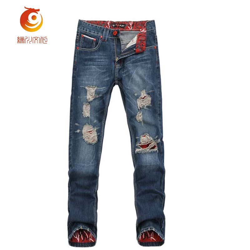 Mens Cuffed Jeans 2017 Spring Slim Distressed Jeans Men Biker Jeans Hip Hop Destroyed Denim Pants Washed Ripped Jeans with Holes men s skinny slim denim washed hip hop jeans vintage ripped biker classic slim pants relaxed fit bootcut jeans mens
