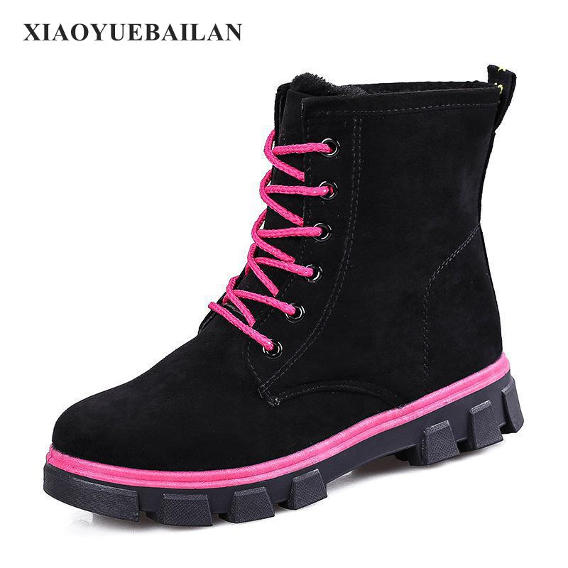 2017 Autumn And Winter Snow Boots Shoes With Flat Cashmere Thickened Short Tube Suede Lacing Warm Non Slip Tide