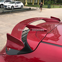 For Mazda 3 Axela hatchback 2013 2018 FRP Material Unpainted Color Rear Spoiler Wing Trunk Lid Cover Car Styling