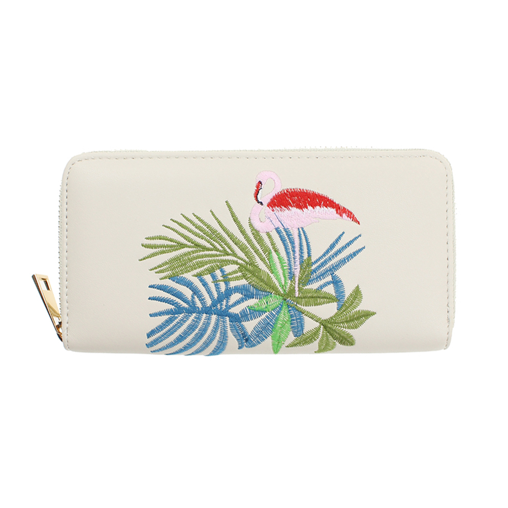 Zipper Wallets Red Flamingo Embroidered Clutch Bag Phone Travel Card Long Dollar Cash Ev ...