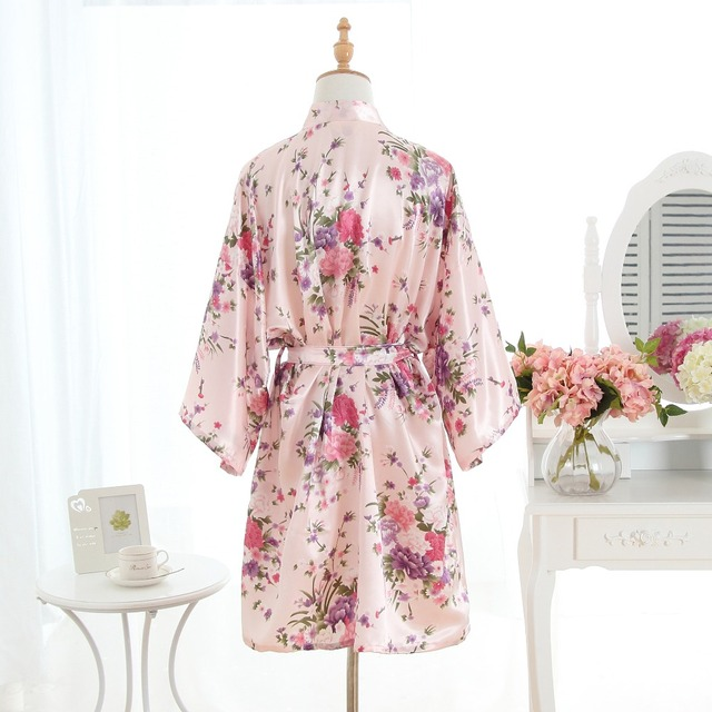 Silk Pink Bridesmaid Bride Robe Sexy Women Short Satin Wedding Kimono Robes Sleepwear Nightgown Dress Woman Bathrobe Pajamas