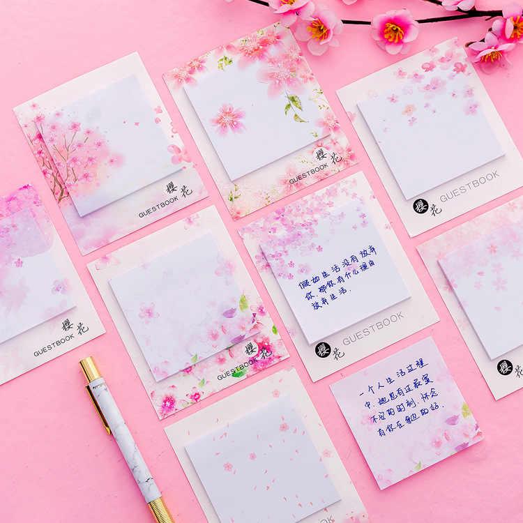 Японская Сакура самоклеющиеся заметки самоклеющиеся липкие заметки милые блокноты размещенные блокноты наклейки бумажные 30 листов/блокнот