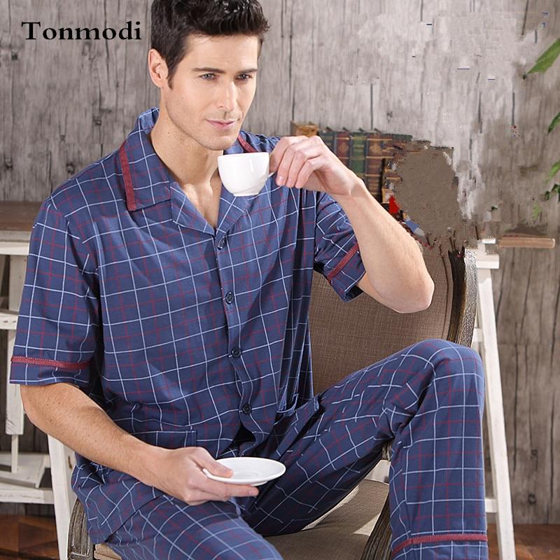 2016 NEW Pajamas For Men Cotton Sleepwear Short Sleeve Trousers Pyjamas Set Men Lounge Pajamas  Plus size M-4XL