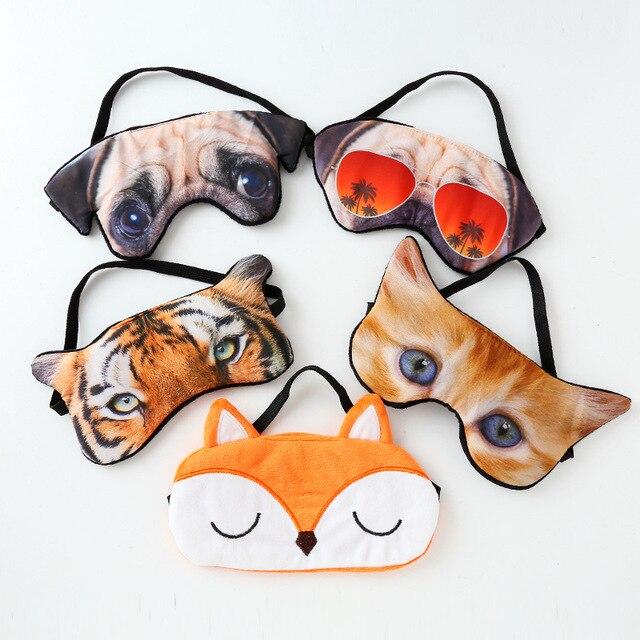 3D Cão Gato Olhos Máscara Pala de Sombreamento Bonito Tigre Raposa Máscara de Dormir Tampa Do Olho Para O Curso Relaxar Aid Shades Blindfold máscaras do partido