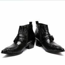 2017 увеличивающая рост мужская повседневная обувь одноцветное Цвет комфорт Мужские кожаные туфли острый носок на среднем квадратном каблуке Мужская обувь в деловом стиле