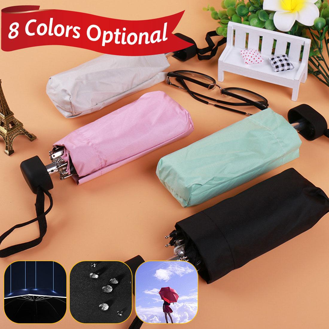 Portable Travel Umbrella 16cm Mini Folding Rain Umbrella Pocket Parasol Male Female Gift Girls Anti-UV Waterproof