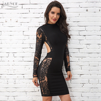 Adyce 2018 Bandage Dress Elegant Long Sleeve Black Lace Backless Mini Dress Women Wholesale Dress Celebrity