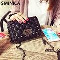 SMINICA! nuevo bolso retro remache mini bolso de cadena diagonal Plaid cuero de la pu de Las Mujeres bolsa de mensajero de LA PU de Cuero Bolsos Crossbody