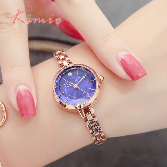 KIMIO Colorful Quartz Diamond Watch Alloy Rose Gold Bracelet Watch Women Dress W