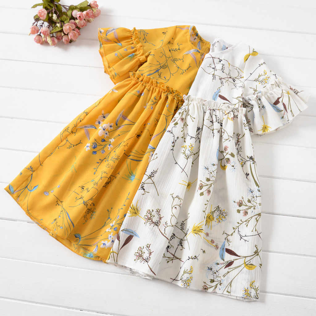 Kid Clothes Girl Summer Dress Casual Flare Sleeve Short Sleeves Flare Sleeve Ruched Floral Print Girls kids dresses for girls