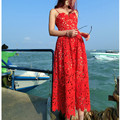 Высокого класса пользовательских автопортрет стиль 2017 летняя мода взлетно-посадочной полосы выдалбливают платье Кружева вышивка sexy party длинные платья