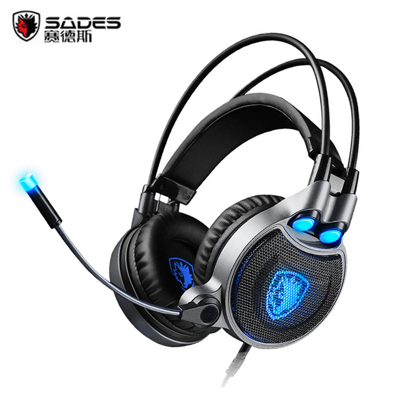 Sades R1 Gaming Headphone USB 7.1 Surround Stereo Computer Game Headset Gamer with Microphone Vibration LED Light fone de ouvido gaming headset stereo v2 earphone gamer led light hi fi headphones mp3 with microphone for computer pc fone de ouvido
