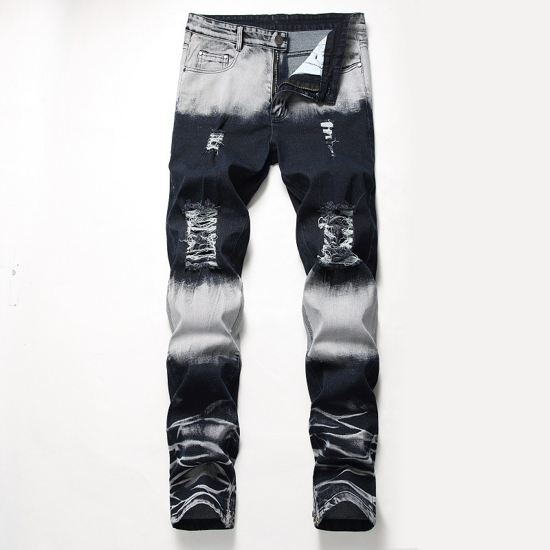 KIMSERE Men Stretch Ripped Jeans Pants With Holes Hi Street Destroyed Denim Trousers Ankle Zipper Washed Blue Plus Size 28-42(China)