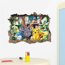 3D Cartoon Pocket Monster Wall Sticker Funny Cute Pokemon Pikachu Digoda Diglett World Famous Cartoon Decals for Kids Room Decor