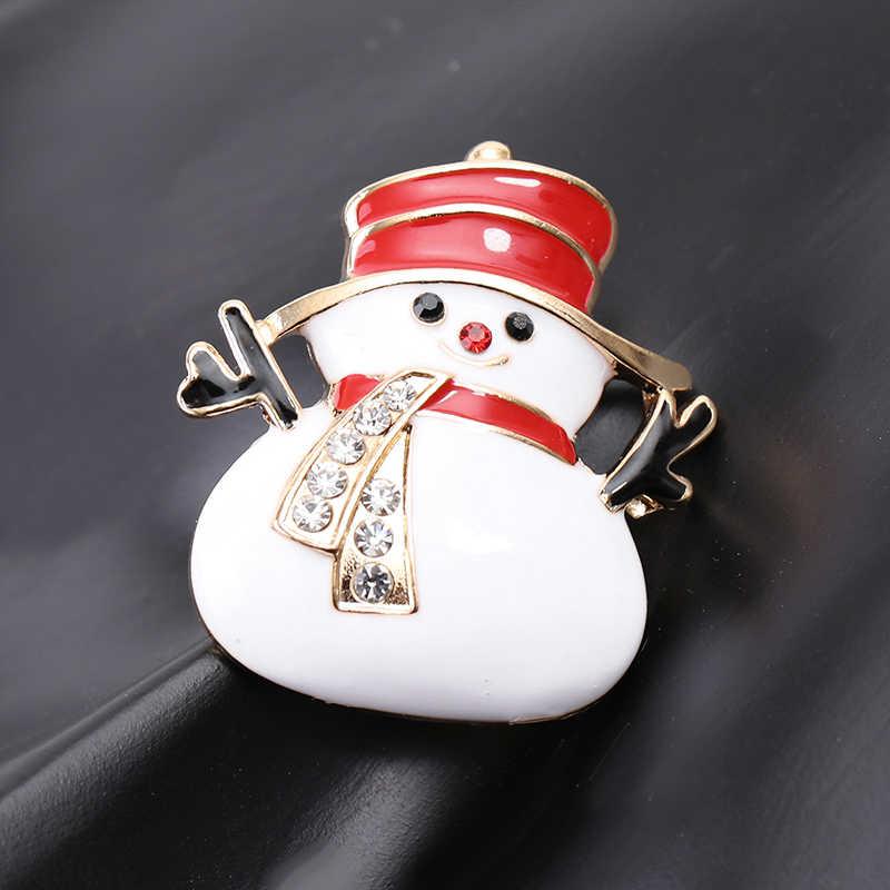 Manusia Salju Pin Bros Cabang Tangan Merah Topi Crystal Syal Snowman Kerah Pin Kartun Enamel Putih Pin Bros Musim Dingin Bros