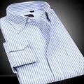 Alta Qualidade Dos Homens Camisas Oxford Resistente Rugas Vestido Slim Fit Button-Down Camisas de Manga Longa Marca de Moda Homem não-ferro plus