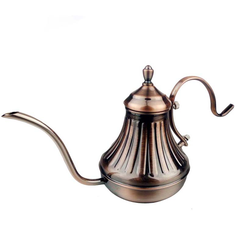 420ML Bronze Stainless Steel Tea Pot Coffee Maker Latte Cappuccino Coffee Drip Kettle Hot Water pot