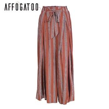 Affogatoo Sexy side split wide leg pants Women summer beach high waist striped pants Elastic sash bow chic trousers casual pants 7